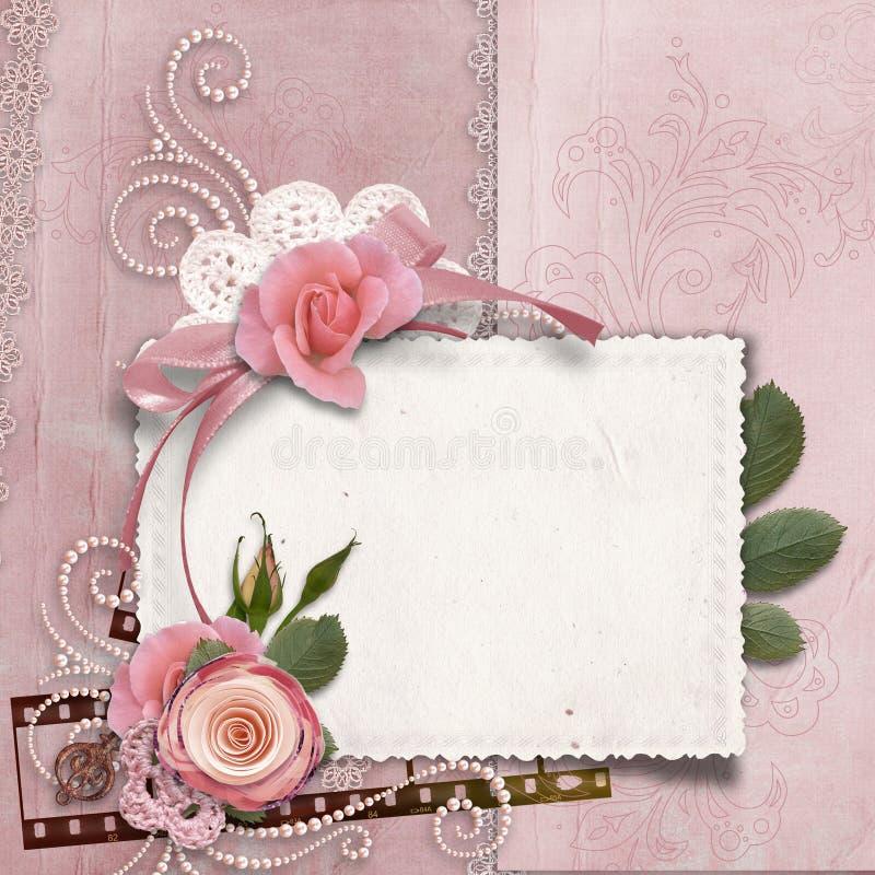 Fondo magnífico del vintage con la tarjeta, rosas, perlas ilustración del vector