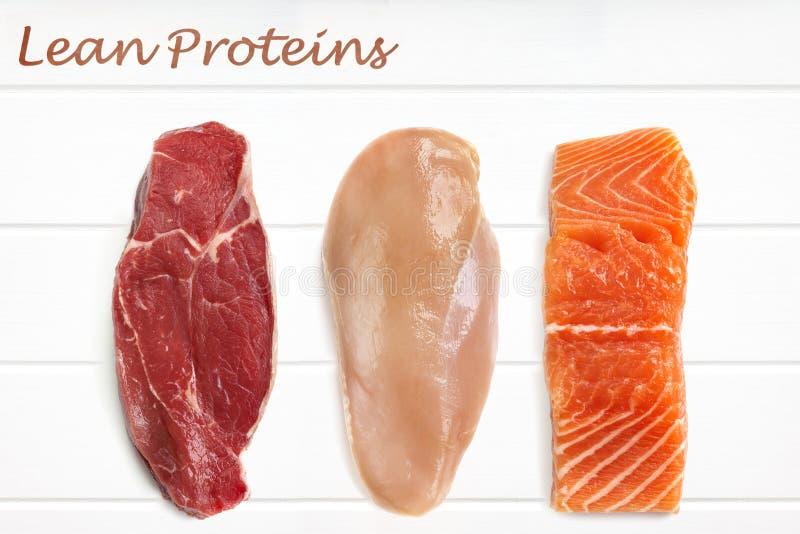 Fondo magro de la comida de las proteínas imagen de archivo libre de regalías