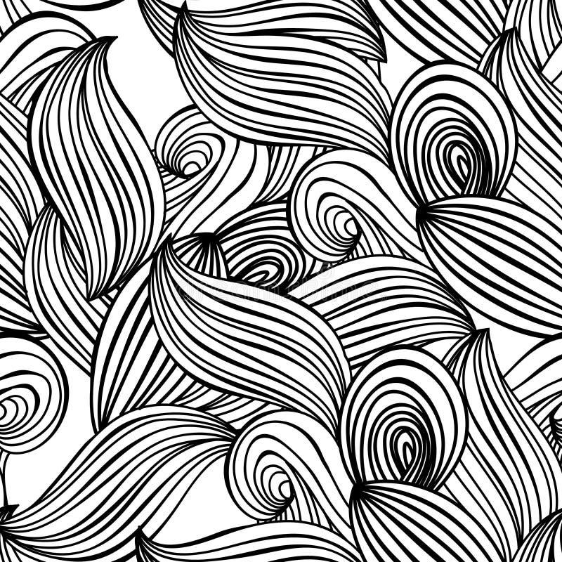 Fondo a mano blanco y negro de la onda inconsútil del modelo para el papel pintado, terraplenes de modelo, fondo de la página web libre illustration