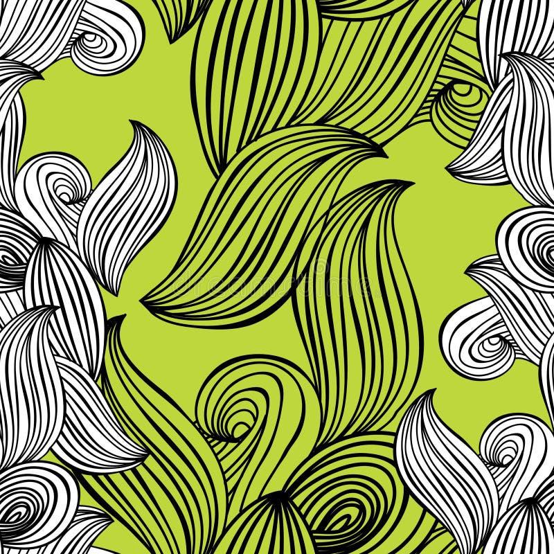 Fondo a mano blanco y negro del verde lima de la onda inconsútil del modelo para el papel pintado, terraplenes de modelo, fondo d stock de ilustración