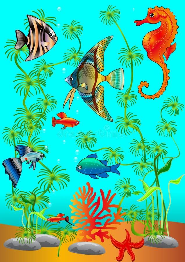 Fondo marino con i pesci vari royalty illustrazione gratis