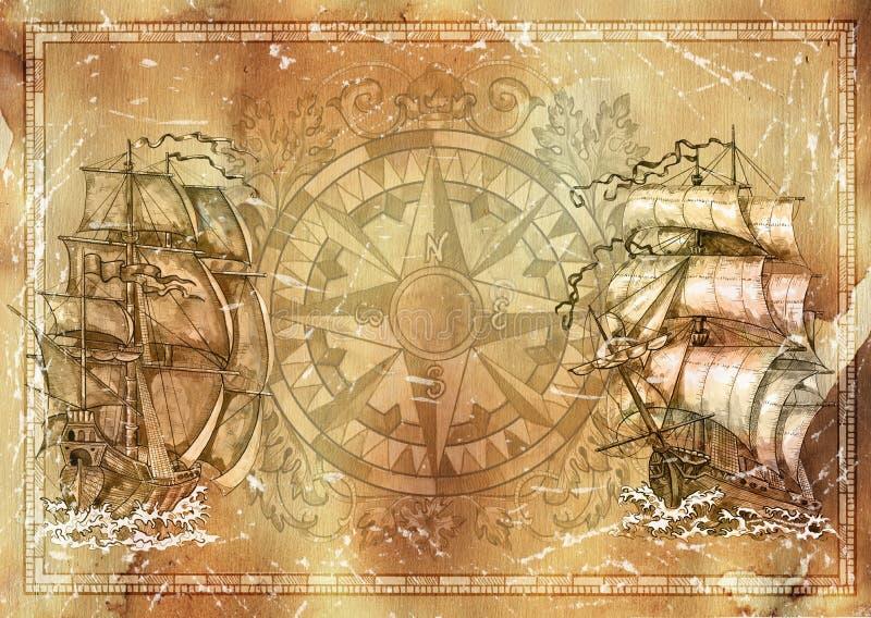 Fondo marino de la textura del grunge, compás victorian náutico, velero viejo, espacio de la copia libre illustration
