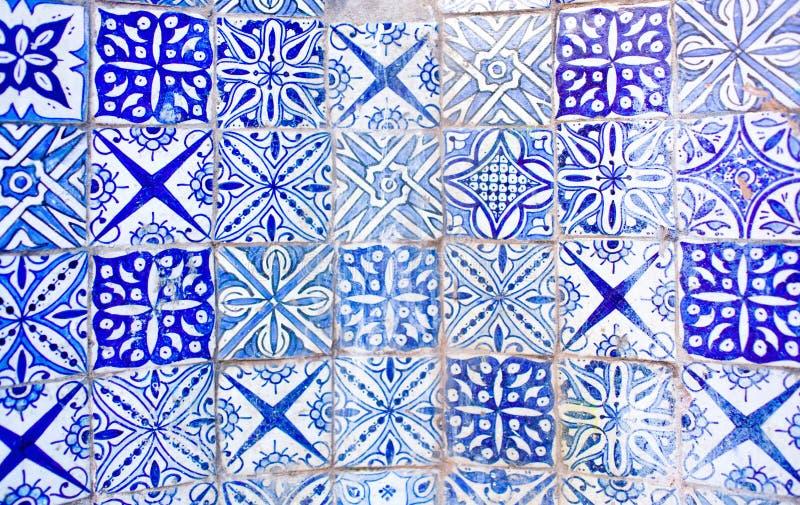 Fondo marocchino blu bianco delle mattonelle di Azulejo fotografia stock libera da diritti