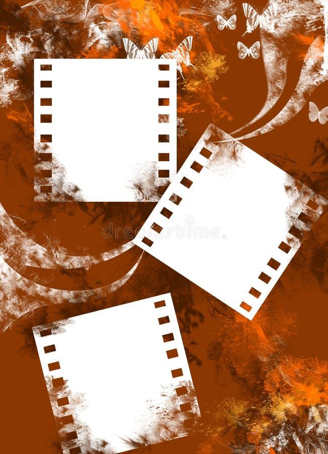 Fondo marrón de Grunge con fotos vacías. stock de ilustración