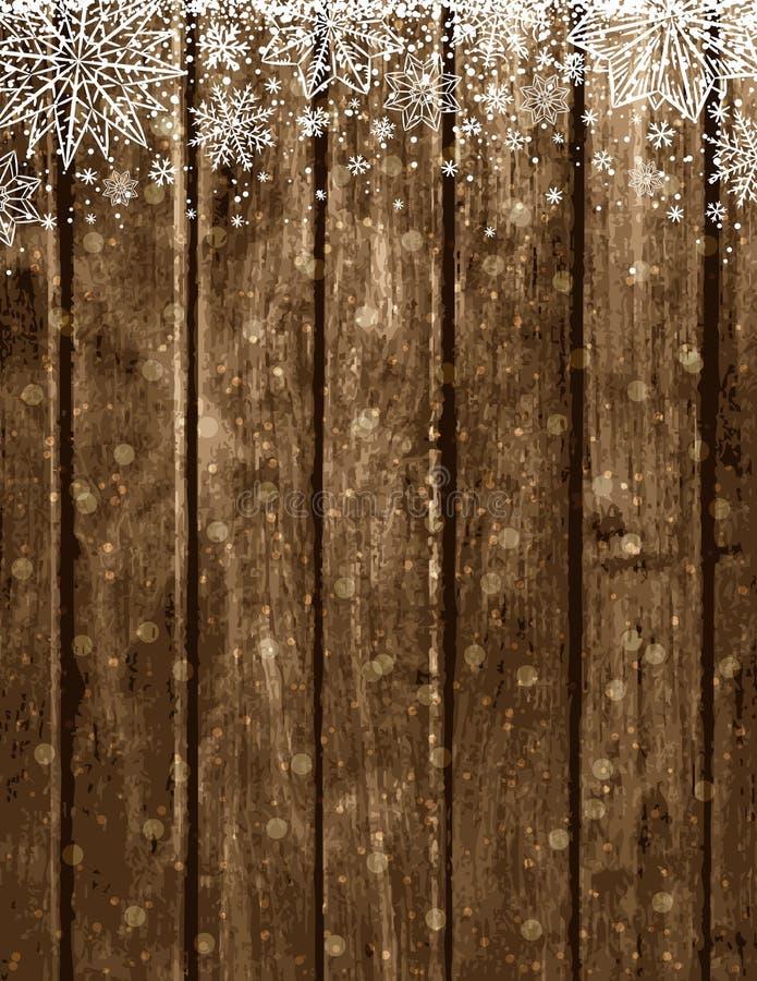 Fondo marrón de madera de la Navidad con los copos de nieve libre illustration