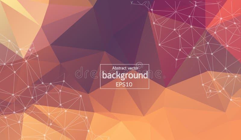 Fondo marrón poligonal del extracto con los puntos y las líneas conectados, estructura de la conexión, fondo futurista del hud libre illustration