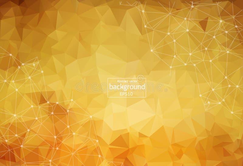 Fondo marrón poligonal del extracto con los puntos y las líneas conectados, estructura de la conexión, fondo futurista del hud, i libre illustration