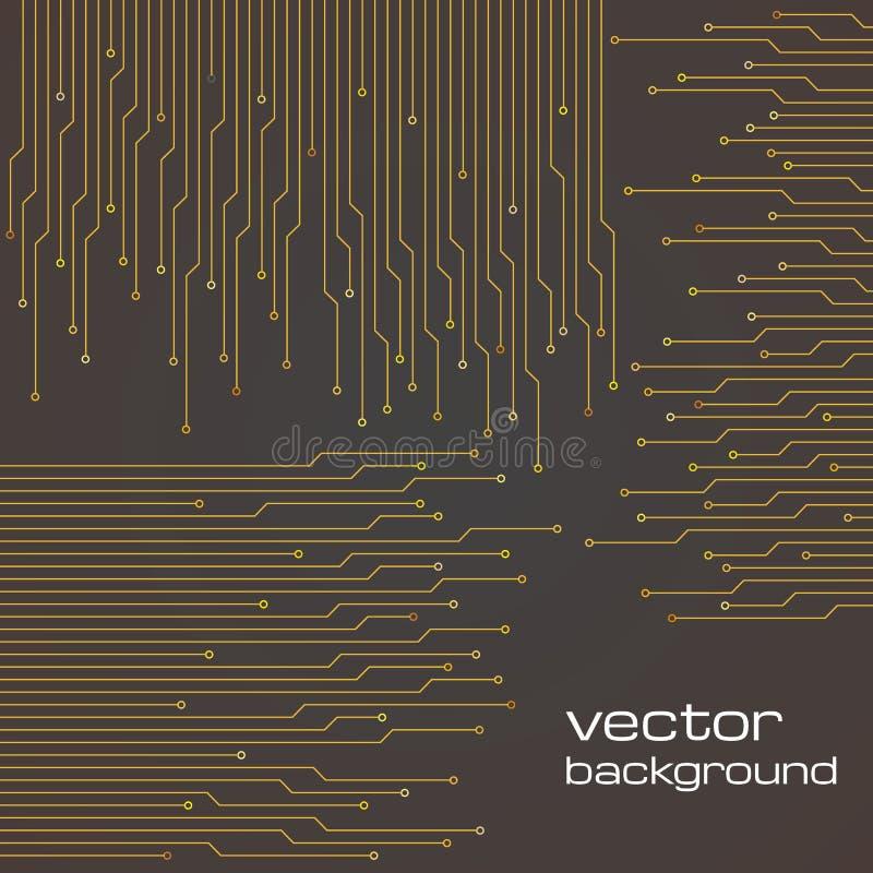 Fondo marrón tecnológico abstracto con los elementos del microchip ilustración del vector