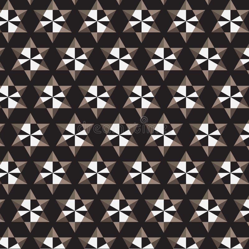 Fondo marrone bianco nero del nero del modello a strisce della stella illustrazione vettoriale
