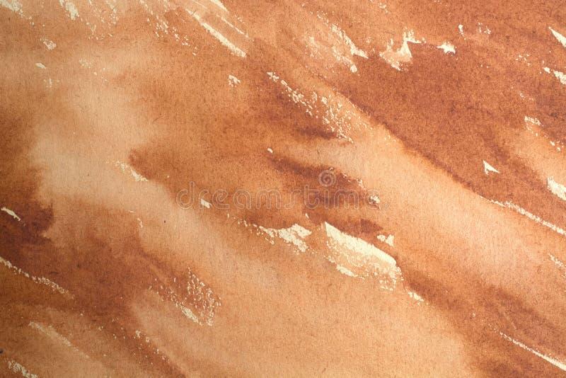 Fondo marrone caldo dell'acquerello fotografia stock