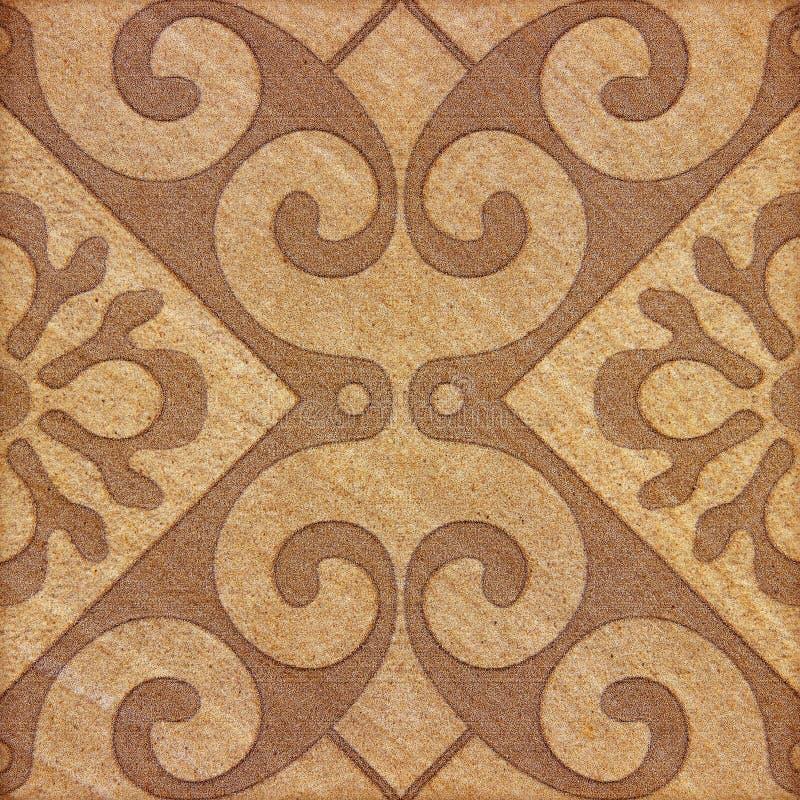 Fondo marrone decorativo delle mattonelle dell'arenaria immagine stock libera da diritti