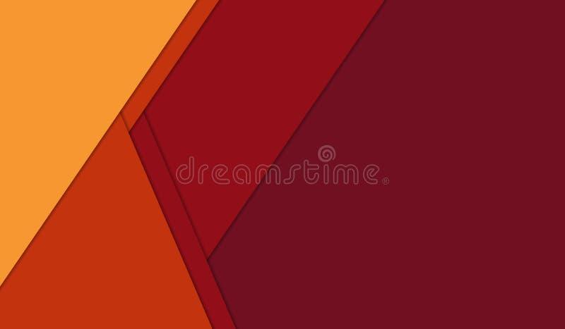 Fondo material geométrico abstracto del diseño del rojo anaranjado y del amarillo libre illustration