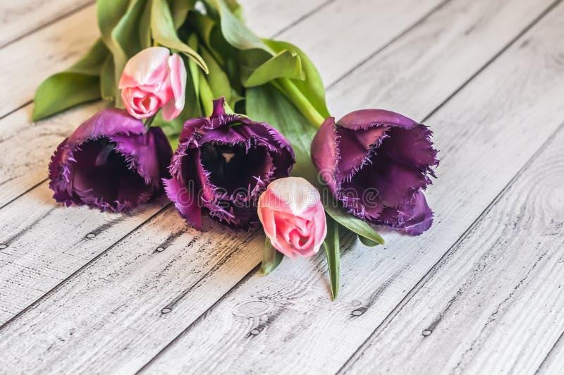 Fondo Mazzo dei tulipani variopinti su un legno fotografia stock