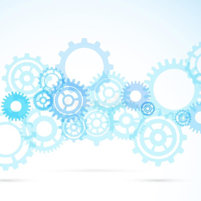 Fondo meccanico moderno dell'estratto blu dell'ingranaggio illustrazione di stock