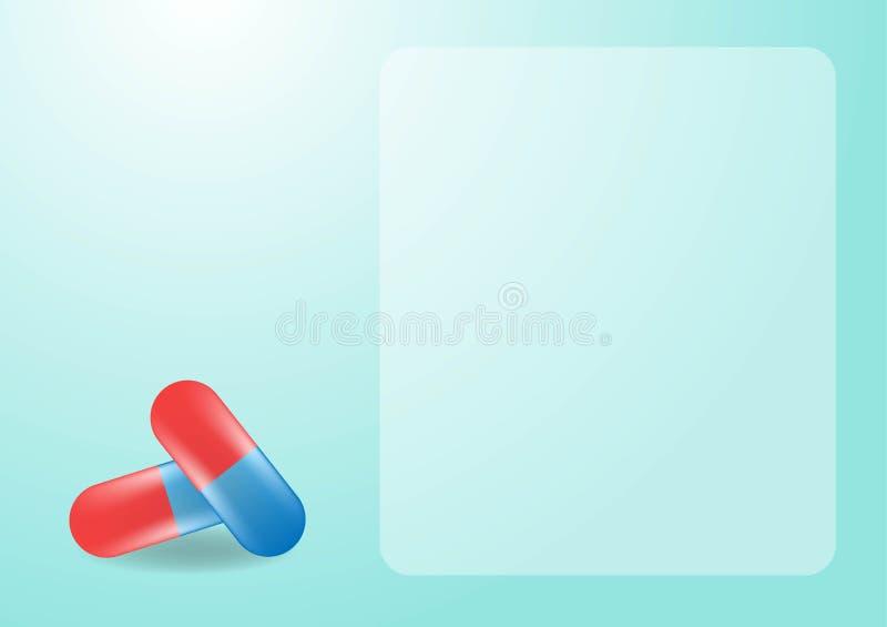 Fondo medico con le capsule realistiche di colore Antidolorifici, antibiotici, vitamine, aminoacidi, minerali, bio- additivo atti royalty illustrazione gratis