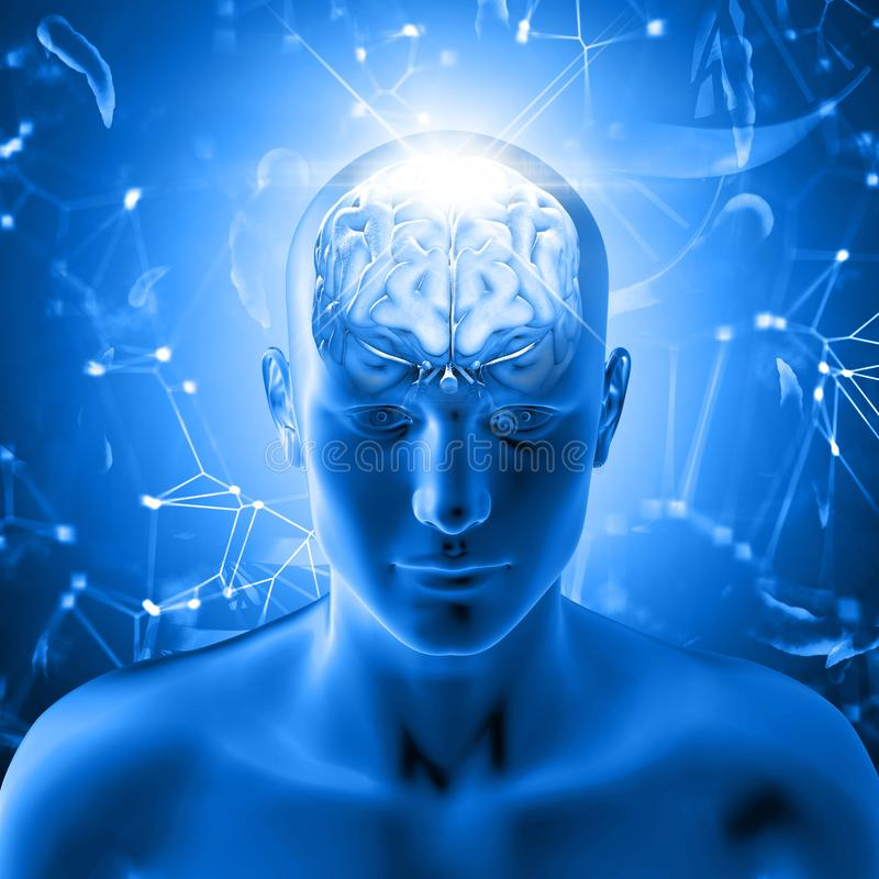 fondo medico 3D con la figura maschio con il cervello illustrazione vettoriale