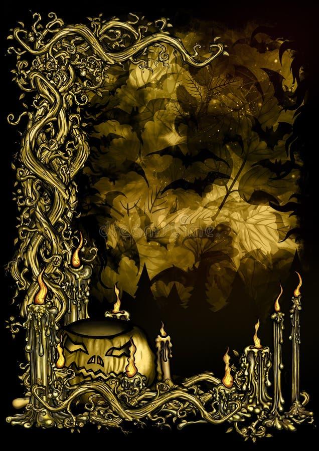Fondo melancólico del bosque de Halloween stock de ilustración