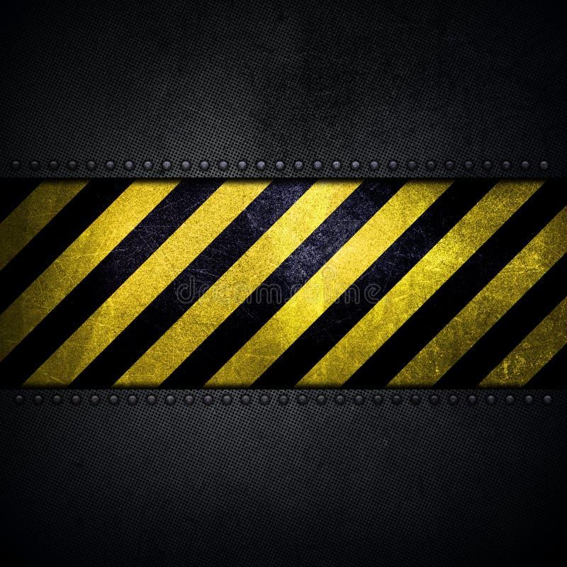 Fondo metálico abstracto con la tira amarilla y negra de la advertencia stock de ilustración