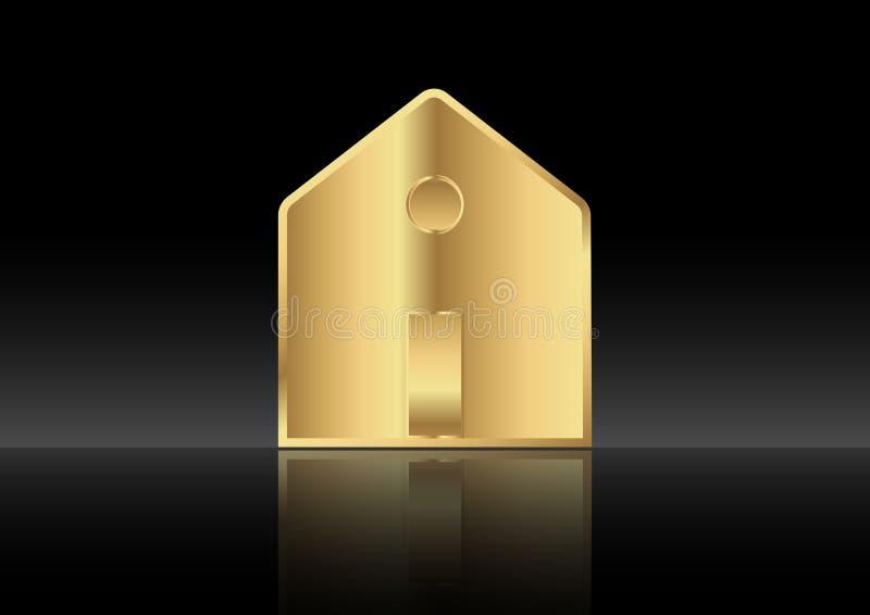 Fondo metálico, aislado o negro del casa del oro, casero del icono libre illustration