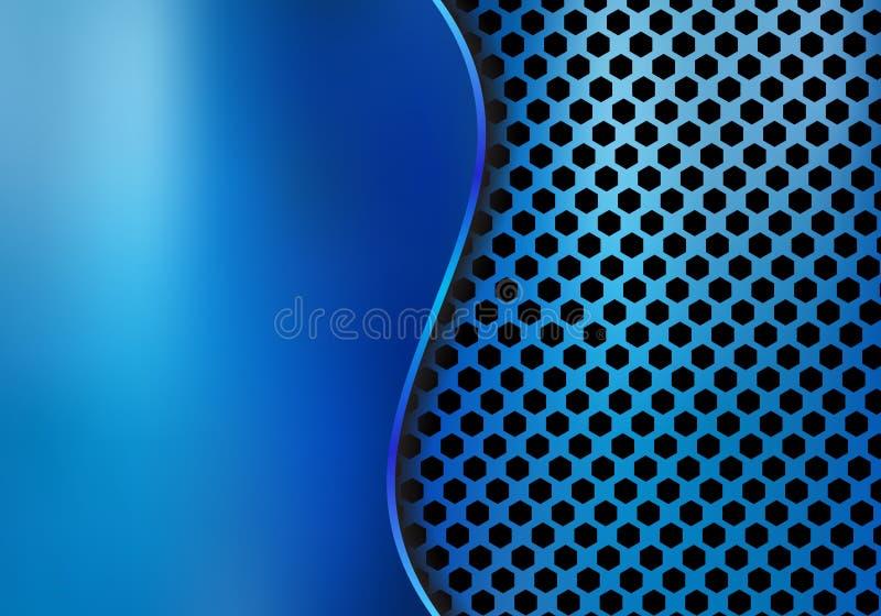 Fondo metálico azul del metal del extracto hecho de textura del modelo del hexágono con hierro de hoja de la curva Textura geomét stock de ilustración