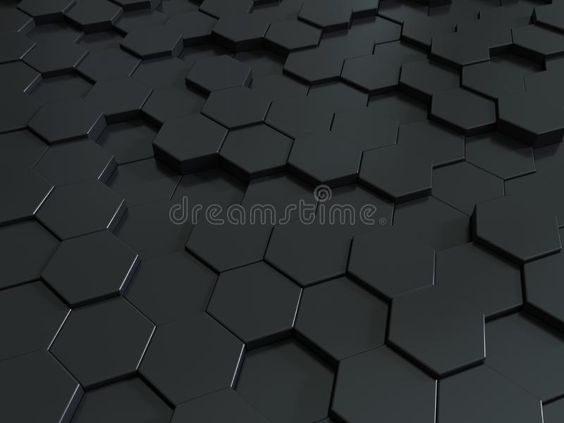 Fondo metálico de los paneles 3d del panal del extracto Fondo o textura oscuro hexagonal metálico libre illustration