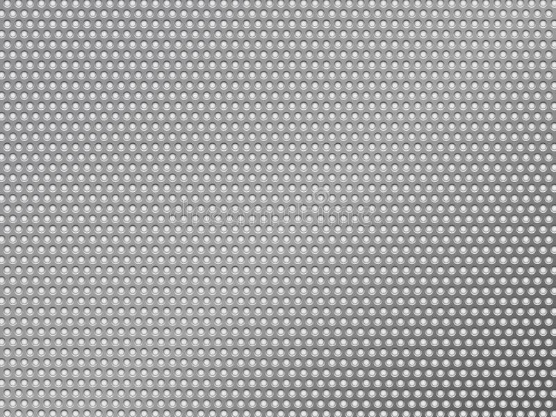 Fondo metálico de plata perforado stock de ilustración