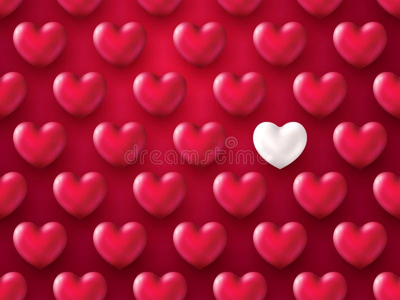 fondo metálico del día de tarjeta del día de San Valentín del corazón 3D Forma realista hermosa de corazones rojos y de plata Dis libre illustration