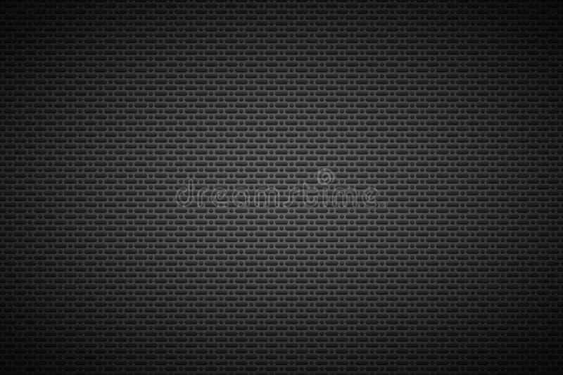 Fondo metálico negro perforado, textura del metal ilustración del vector