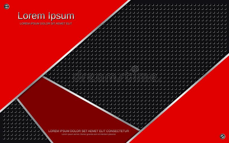 Fondo metálico rojo-negro acodado extracto del vector ilustración del vector