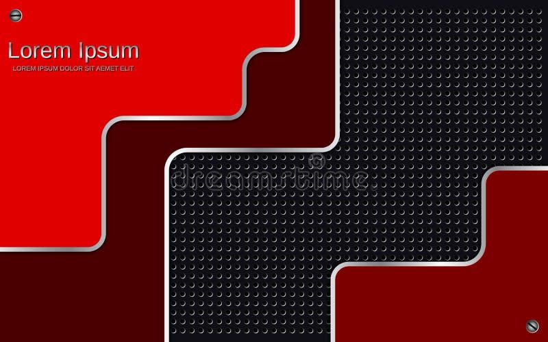 Fondo metálico rojo-negro acodado extracto del vector stock de ilustración