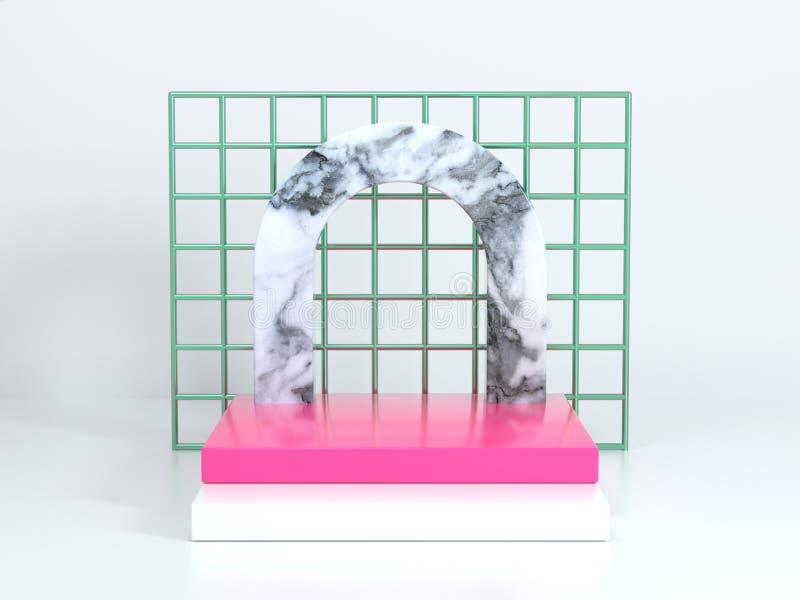 fondo metálico verde de la escena de la representación 3d del extracto del piso cuadrado rosado de mármol geométrico blanco de la libre illustration