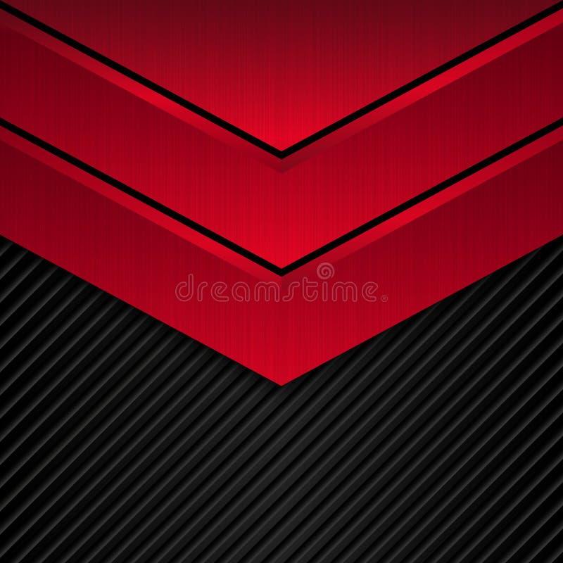 Fondo metallico nero e rosso Insegna metallica di vettore Priorità bassa astratta di tecnologia royalty illustrazione gratis
