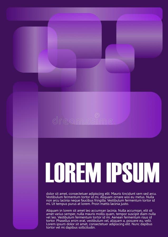Fondo minimalista abstracto con los elementos geométricos simples, rectángulos transparentes en fondo negro gradiente ilustración del vector
