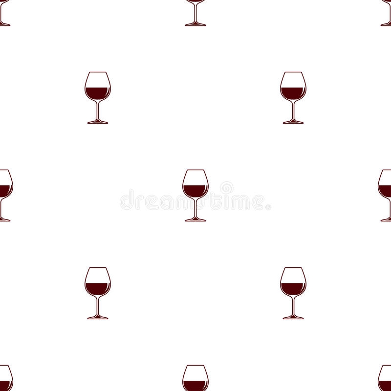 Fondo minimalista di vettore senza cuciture del modello con il vino rosso del bicchiere di vino illustrazione di stock