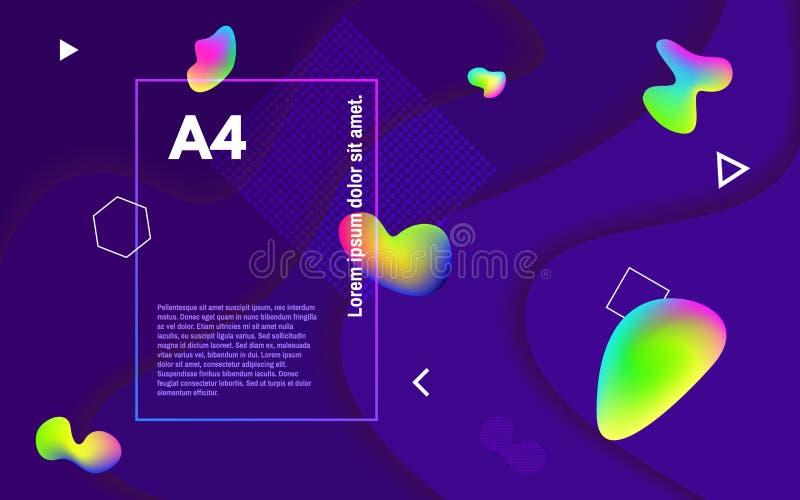 Fondo minimo astratto Forme fluide variopinte Bolle colorate sul contesto scuro Elementi e multi geometrici royalty illustrazione gratis