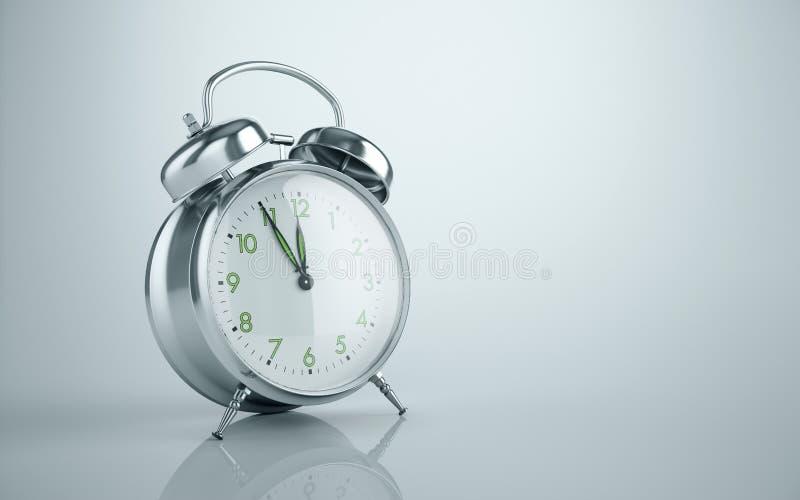 Fondo minimo grigio del metallo della sveglia di lasso di tempo dello spazio classico d'annata della copia illustrazione vettoriale