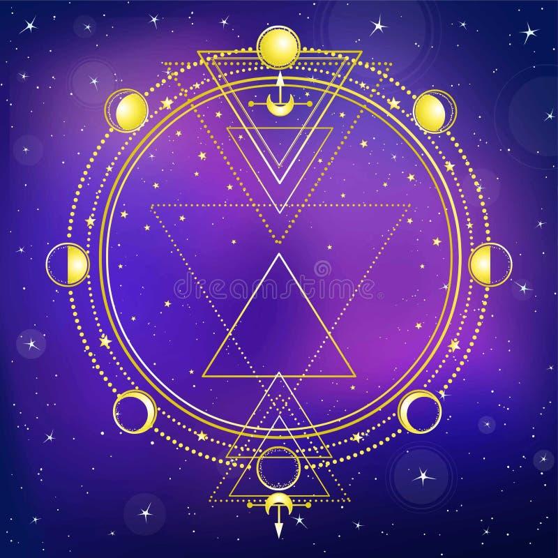 Fondo misterioso: cielo de la estrella de la noche, círculo de una fase de la luna, geometría sagrada stock de ilustración