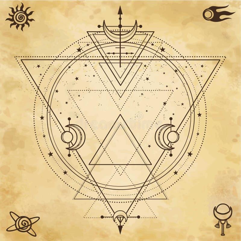 Fondo misterioso: la geometría sagrada, círculos, triángulos, protagoniza ilustración del vector