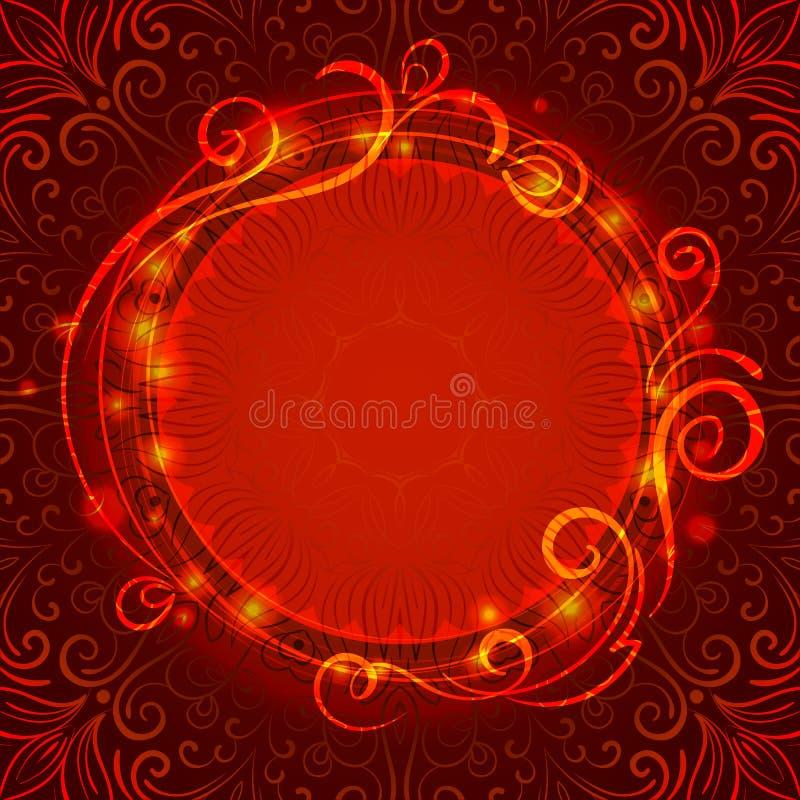 Fondo mistico rosso astratto del pizzo con il turbinio illustrazione di stock