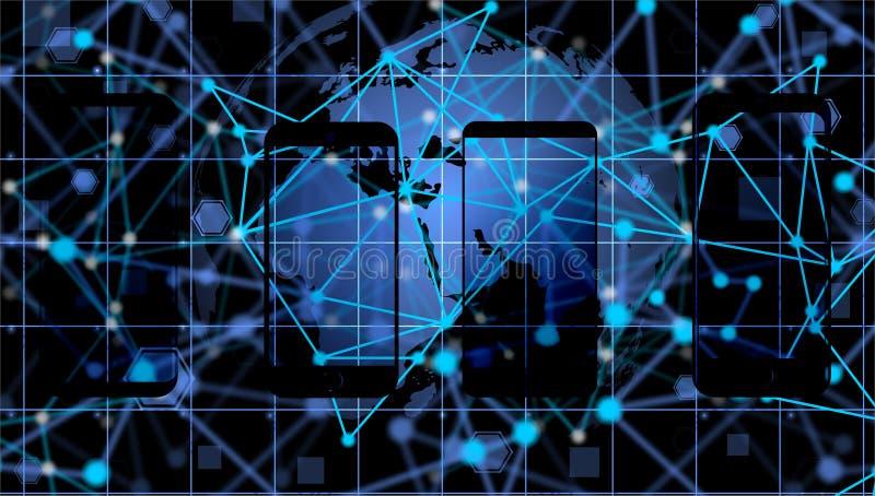 Fondo mobile di tecnologia di tecnologia Concetto virtuale fondo di comunicazione di tecnologia di rete del mondo fotografie stock