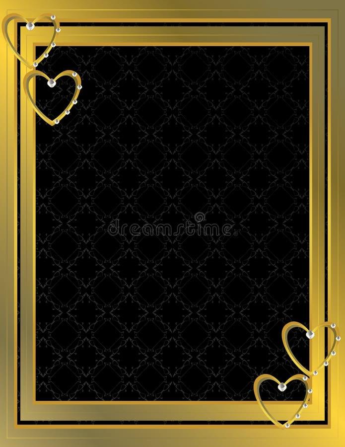 Fondo modelado corazón 7 del oro ilustración del vector