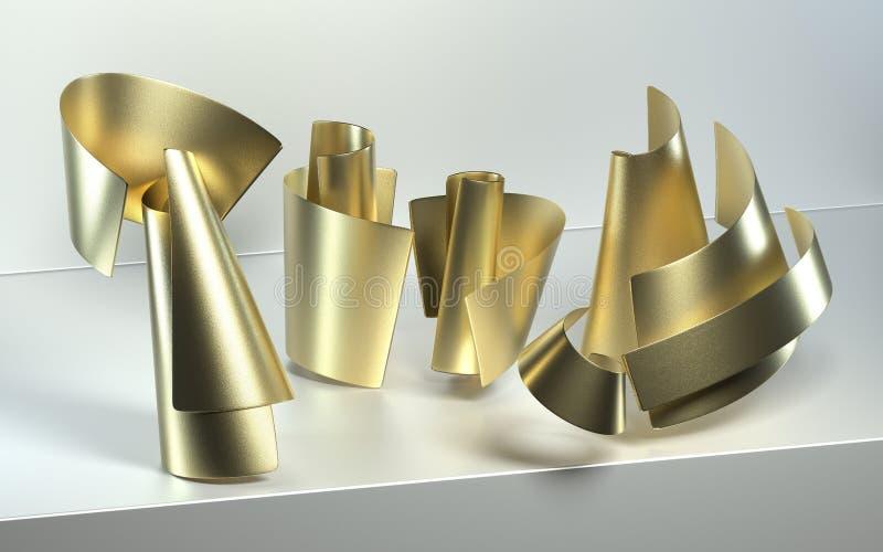 Fondo moderno abstracto con el papel del oro de la curva ilustración del vector