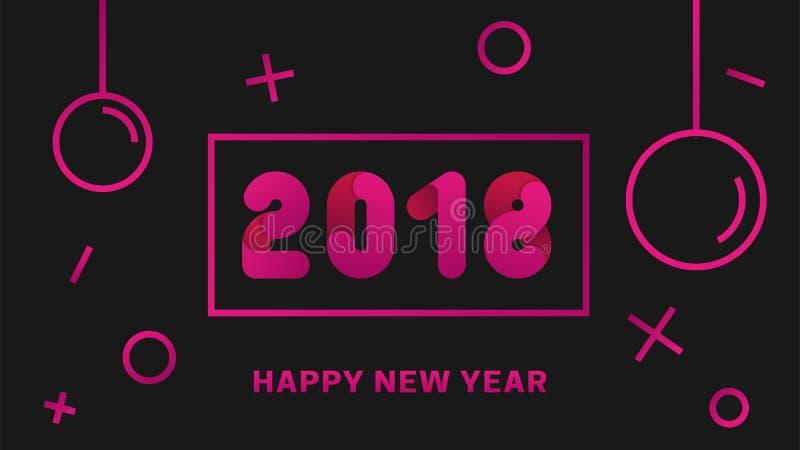 Fondo moderno de la Feliz Año Nuevo 2018 con la bola de la Navidad Bandera del vector libre illustration