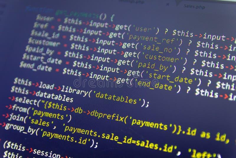 Fondo moderno del desarrollo web Pedazos abstractos de código del PHP stock de ilustración