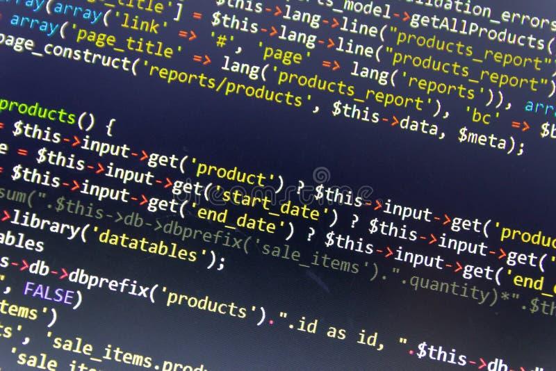 Fondo moderno del desarrollo web Pedazos abstractos de código del PHP ilustración del vector