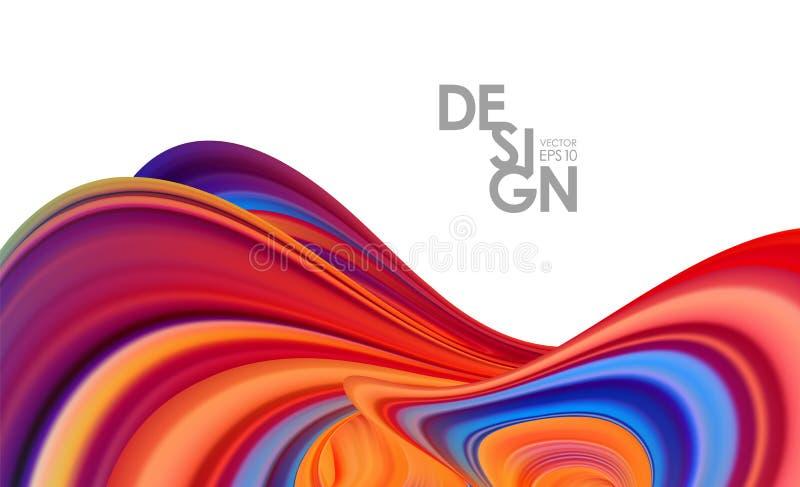 Fondo moderno del extracto 3d con el líquido colorido del flujo Dise?o de moda stock de ilustración