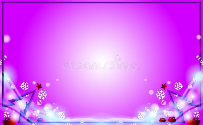 Fondo moderno del marco de Violet Merry Christmas con el árbol púrpura y ornamentos de los copos de nieve del parpadeo Por Años N stock de ilustración