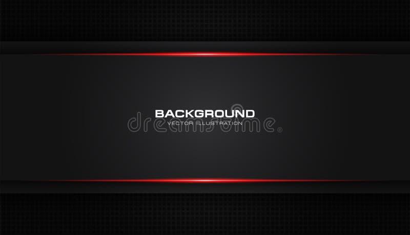 Fondo moderno del modello di vettore di progettazione di tecnologia di colore del nero della disposizione brillante rossa metalli illustrazione di stock