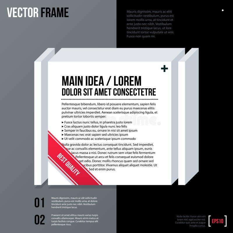 Fondo moderno del testo di affari con il quadrato bianco 3d illustrazione vettoriale