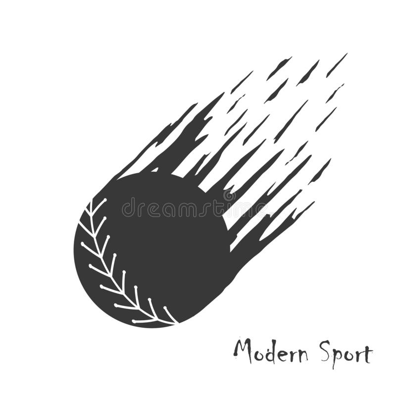 Fondo moderno del vector del estilo con la silueta del softball en el movimiento stock de ilustración
